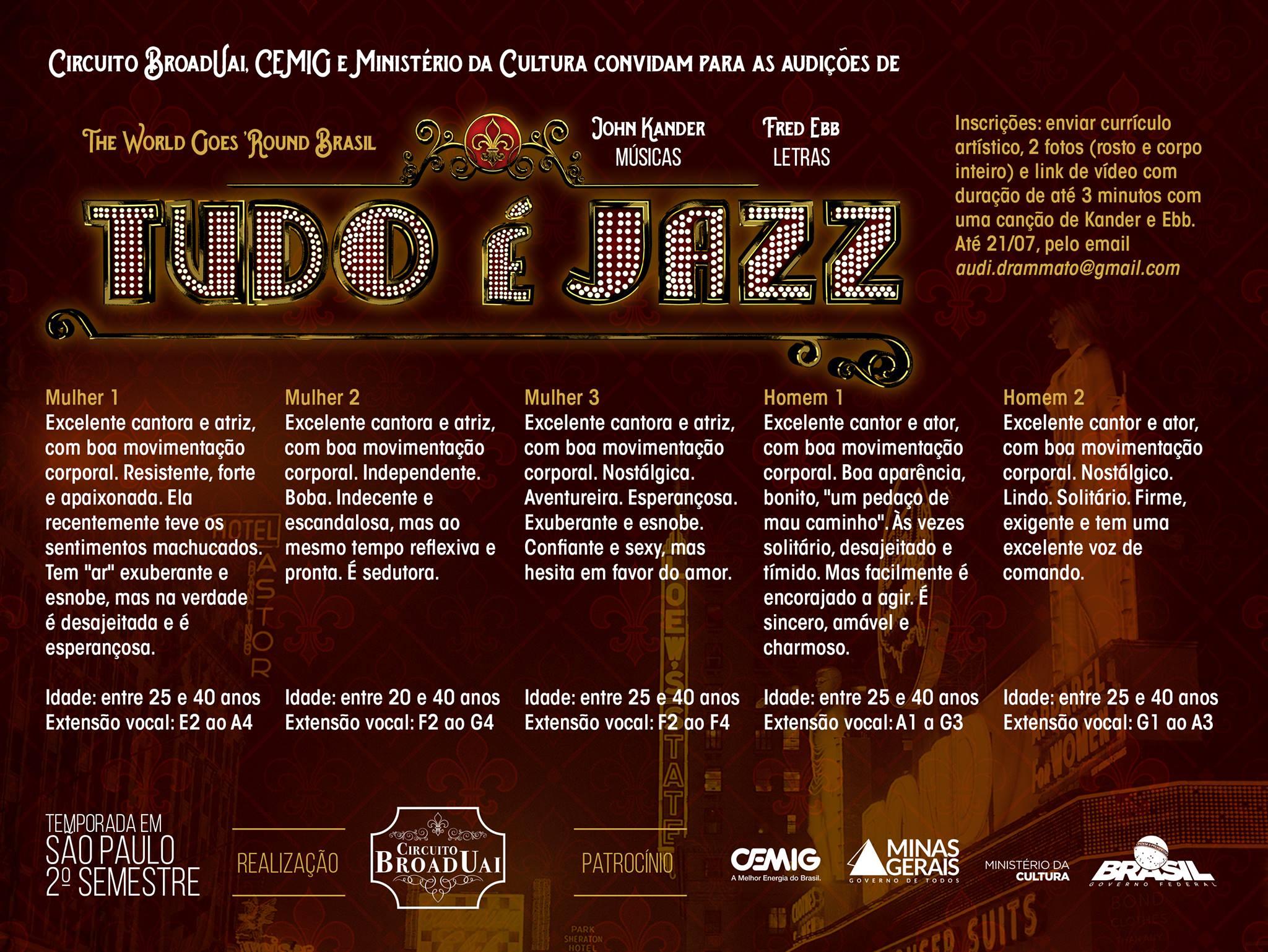 Photo of Circuito BroadUai abre audições para Tudo é Jazz – Um Tributo Musical a Kander e Ebb
