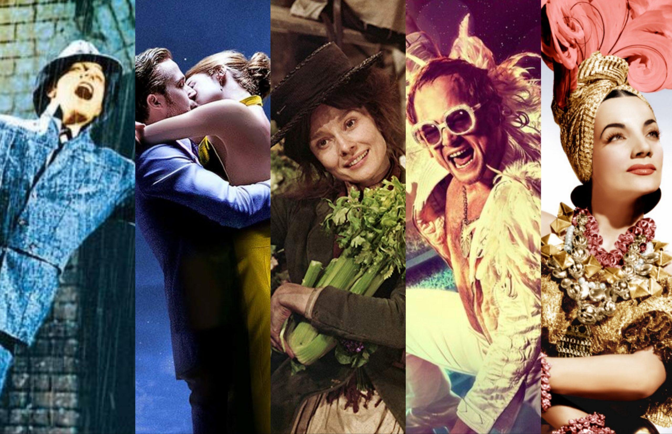 montagem representando vários posters de filmes musicais