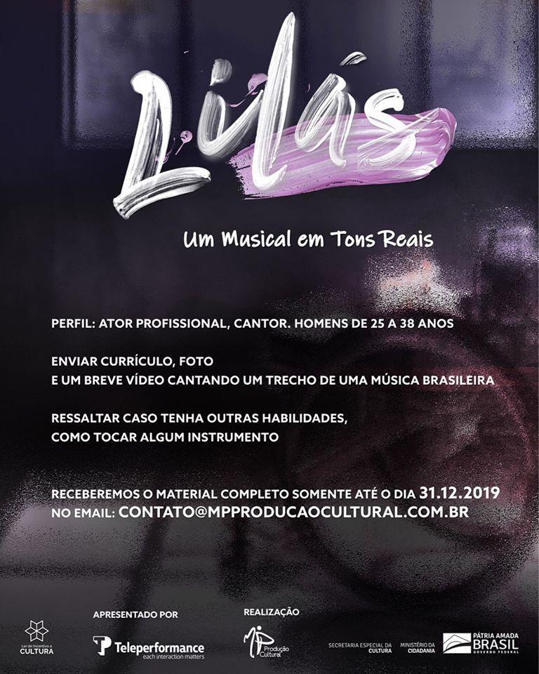 instruções para participar da audição do musical Lilás